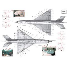 144023 Mig-21 MF/Bis Stencil decal sheet / matrica 1:144
