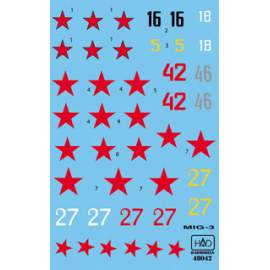 72042 MiG-3 (silver 46, white 18, black 16, red 42, red 27) decal sheet / m
