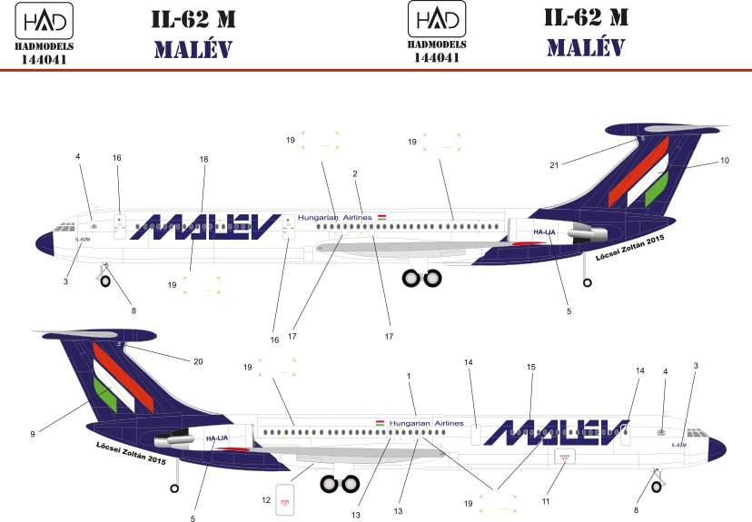 144041 IL-62 M MALÉV decal sheet  / matrica 1:144
