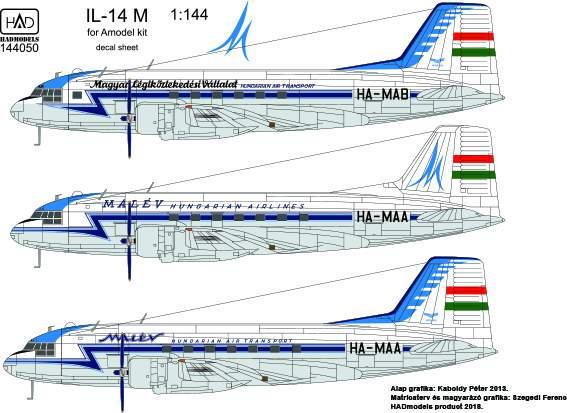 144050 Il-14 M MALÉV decal sheet 1:144