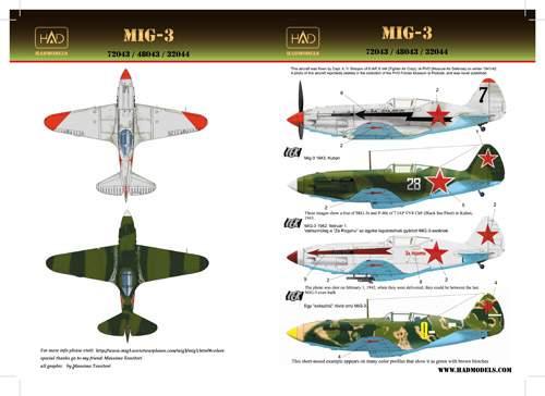 72043 MiG-3 (white 28, yellow9, black7 with Za Stalina, Za Rodinu) decal sh