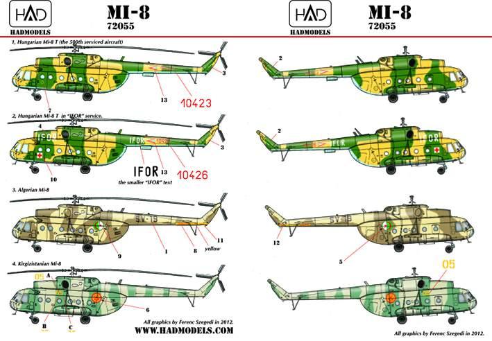 72055 Mi-8 (Hungarian 10423 IFOR, 10426, Kirgizian 05, Cambodia-19)  reprin