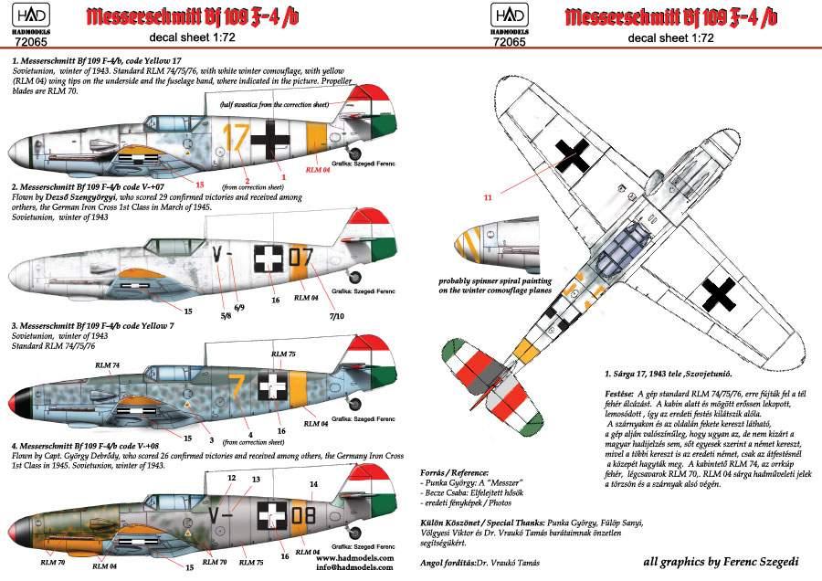 72065 Messerschmitt Bf 109 F-4/b  yellow 17, V-+03, V-+07, yellow 7 decal s