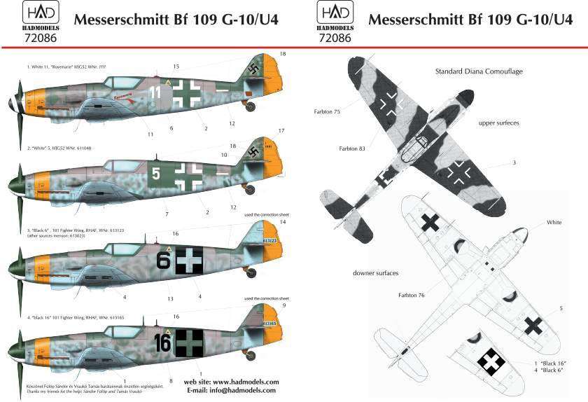 72086 Messerschmitt Bf 109 G-10 decal sheet 1:72