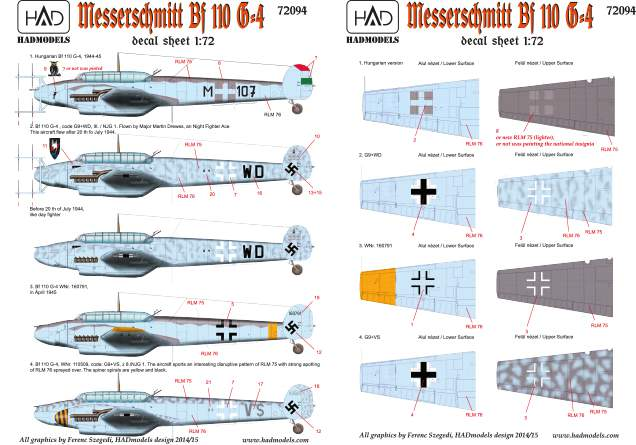 72094 Messerschmitt Bf 110 G-4 (HU M+107, +  Luftwaffe) decl sheet 1:72