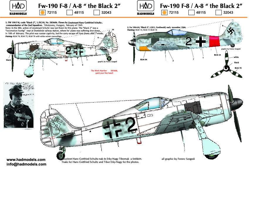 """72115 Fw-190 F-8 / A-8  (Luftwaffe """"black 2"""")"""
