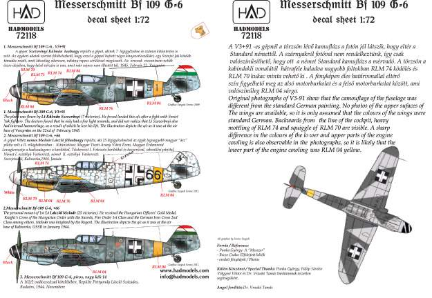 72118 Messerschmitt Bf 109 G-6 (66 Erzsike, red/blue 14; V391)  decal sheet