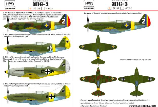 72132 MiG-3 ( with Captured Rumanian and German markings) decal sheet 1:72