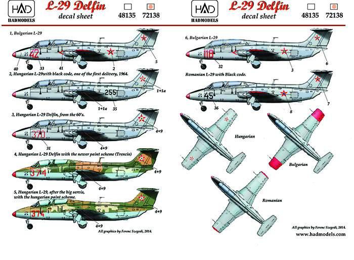 72138 L-29 (Hungarian, Bulgarian, Romanian) decal sheet 1:72