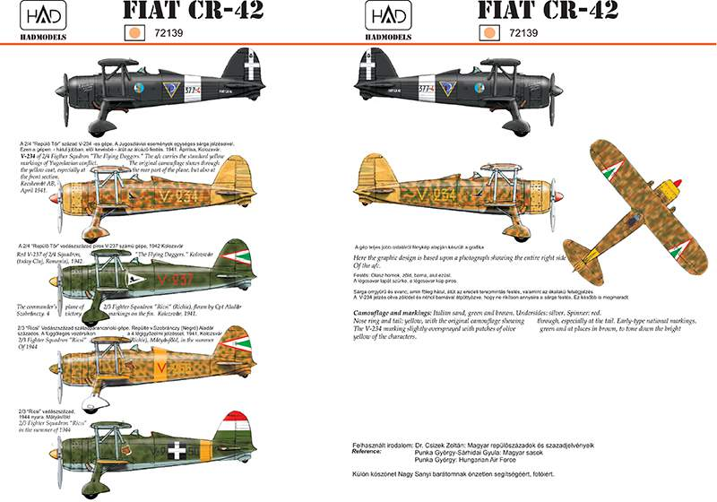 72139 CR-42 HunV-237, V-234, V-266, V-250- Italian 377-4 nightfighter decal