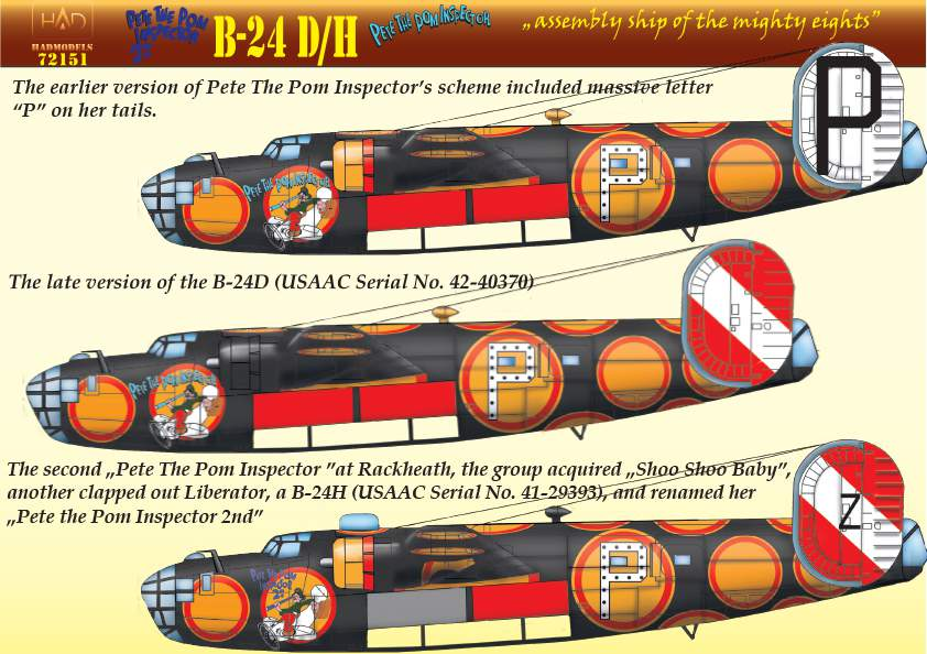 """72151 B-24D /H """"Pete the Pom Inspector"""" 3 decal sheets  reprint 2018."""