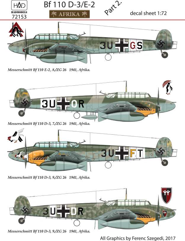 72153 Bf 110 D-3 part 2 dewcal sheet 1:72