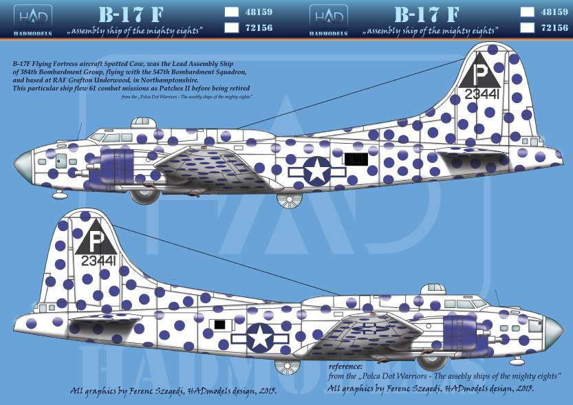 72156 B-17F Spotted Cow USAF decal sheet 1:72