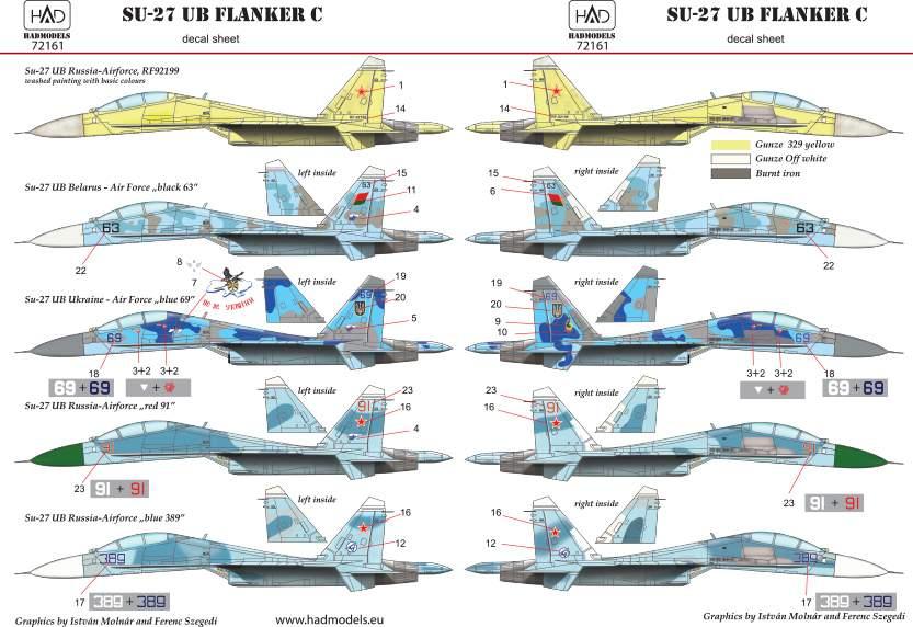72161 Su-27 UB decal sheet 1:72