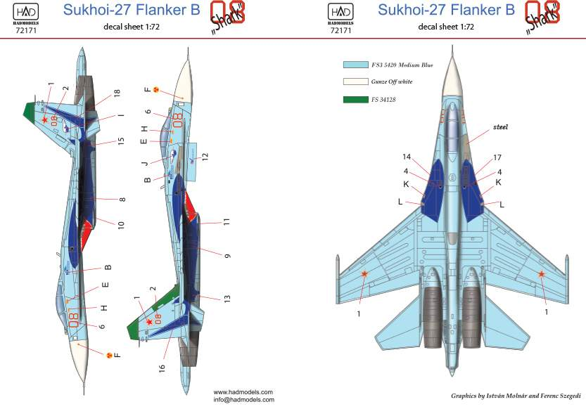 72171 Su-27(Russian 08 shark) decal sheet 1:72