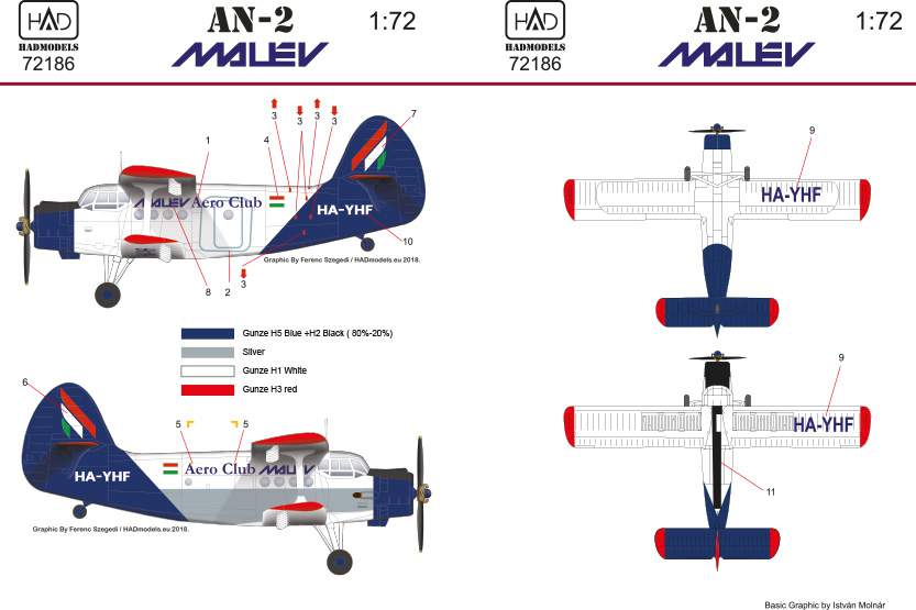 72186 An -2 Malév decal sheet 1:72