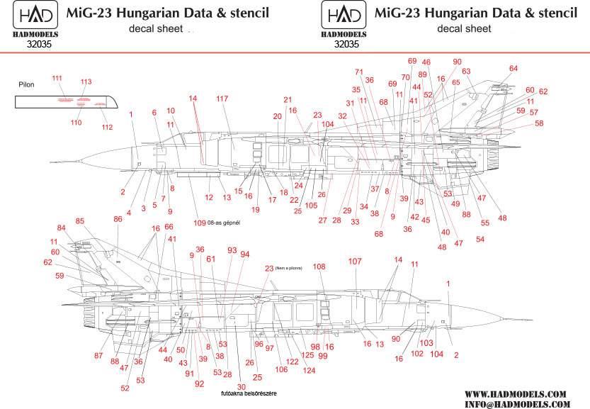 32035 Mig-23 Hungarian stencil decal sheet 1:32