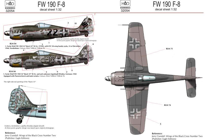 32054 FW 190 F-8 ( German black 22, 33) deal sheet 1:32