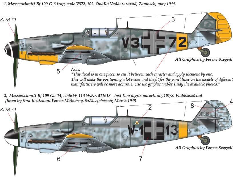 32055 Messerschmitt Bf 109 G-6 G-14 (V3+72 ; W1+13) decal sheet 1:32