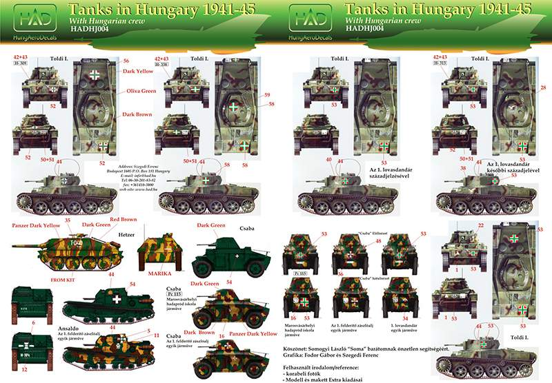 035004 Hungarian ww II part II. Toldi I. Csaba, Ansaldo, Hetzer, teherautók