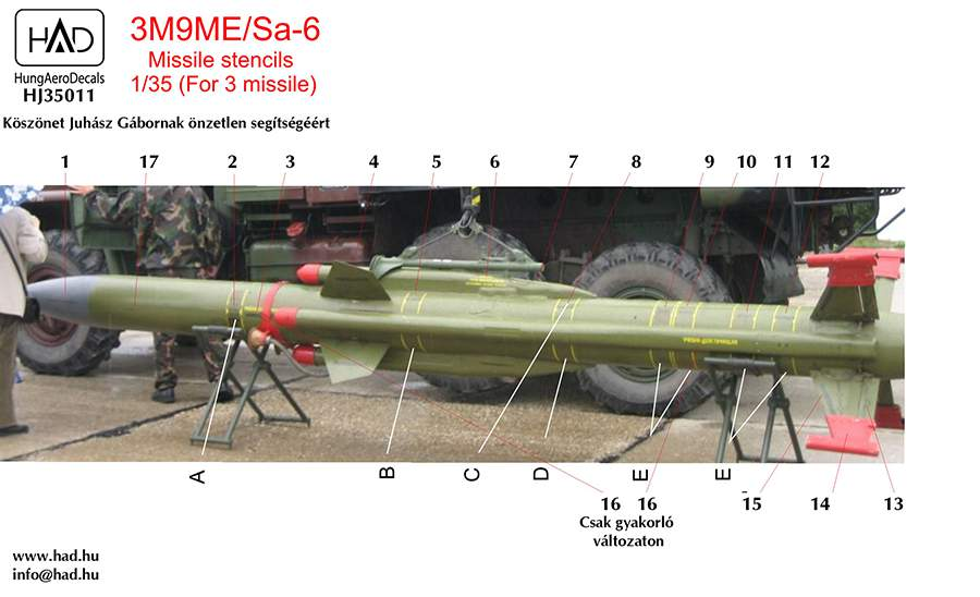 035011 3M9ME/Sa-6 Missiles stencils  decal sheet 1_35