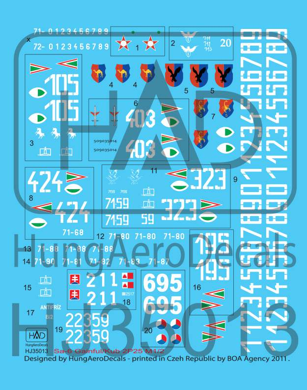 035013 Sa-6 Hungarian, Czech, Slovak) decal sheet 1:35