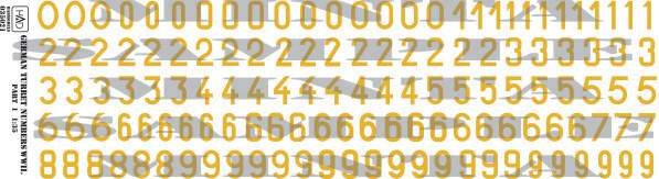 035021 German ww2  numbers part 1 decal sheet 1:35