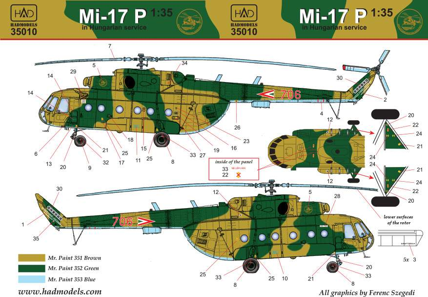 35010 Mi-17 P decal sheet for Trumpeter kit 1:35