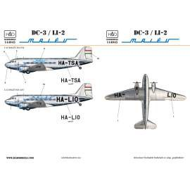 144045 C-47/LI-2  MALÉV  (HA-TSA, HA-LIO) NEW print for Eastern Express kit