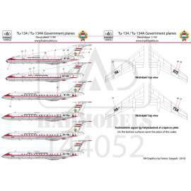 144052 Tu-134  /- A  Kormánygépek matrica 1:144