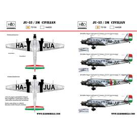 72130 Ju-52 civilian (HA-JUA, HA-JUC, HA-JUF) decal sheet 1:72