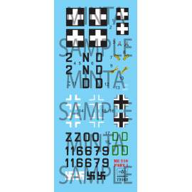 72162 Me 210 part 1 decal sheet 1:72