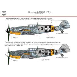 72176 Messerschmitt Bf 109 G-2/G-4 (HunV.3+13; V.3+50) decal sheet 1:72