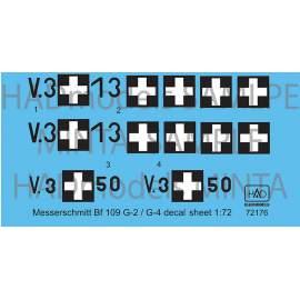 72176 Messerschmitt Bf 109 G-2/G-4 decal sheet 1:72
