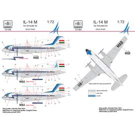 72190 IL-14M Hungarina Air Liner / Air Transport matrica 1:72