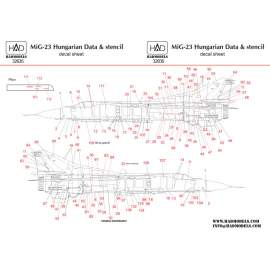 32035 Mig-23 Hungarian stencil decal sheet 1:32