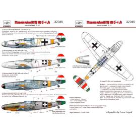 32045 Messerschmitt Bf 109 F-4 yellow 17, V-+03, V-+07, yellow 7)  decal sh
