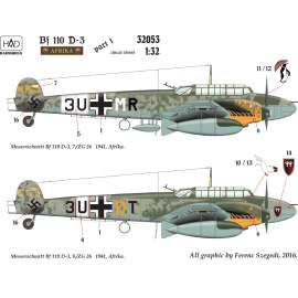 32053 Bf 110 D-3 Africa corps decal sheet 1:32