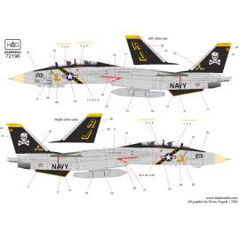 72196 F-14A VF-84 Jolly Rogers USS Theodore Roosewelt 1987 decal sheet 1:72