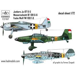 72187 Me Bf 109 G-6; Ju-87 D-5; FW 190 F-8 decal sheet 1:72