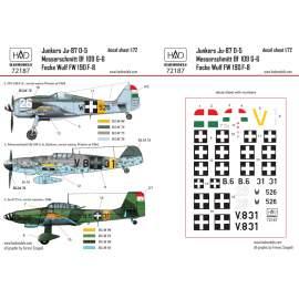 72187 Messerschmitt BF 109 G-6; Junkers Ju-87 D-5; FW 190 F-8 decal sheet 1