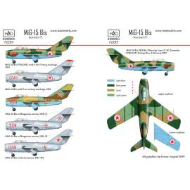 72207 MiG-15 Bis (North Corea, Soviet, Hungarian) decal sheet 1:72