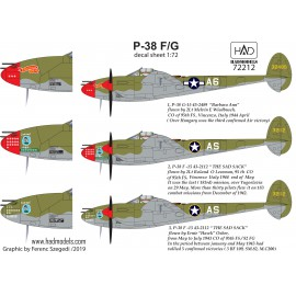 "72212 P-38 F/G  "" Over Europe"" decal sheet 1:72"