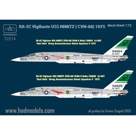 "72214 RA-5C Vigilante ""USS NIMITZ"" Part 1 decal sheet  1:72"