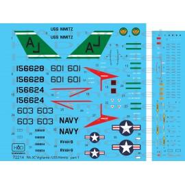 "72214 RA-5C Vigilante ""USS NIMITZ"" Part 1 decal sheet  1:72"