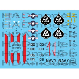 "72217 F-14A ""Black Aces"" USS NIMITZ decal sheet 1:72"