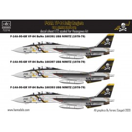 72216 F-14A Jolly Rogers / USS Nimitz decal sheet 1:72