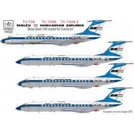 144058 Tu-134  Tu-134A  Tu-134A-3 MALÉV decal sheet for Zvezda kit 1:144