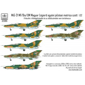 32086 MiG-21 MF/UM Magyar Légierő jelzései matrica 1:32