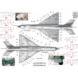 48237 MiG-21  MF/Bis stencil ( ezüst és Szürke gépekhez) 1:48